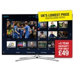 """Samsung TV  50"""" 3D quad core LED Smart TV UE50H6200 Television 200 hz  at RGB Direct £529 with code 20TVOFF & free B Tech BTV815-FR 1.5m Ventry High Speed 24 k gold plated HDMI Cable with Ethernet worth £14.95 (Extra  £49 for a five year warranty)"""