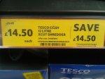Tesco crosscut paper shredder £14.50 @ Tesco instore