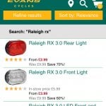 Raleigh RX 3.0 front and Rear Light £6.28 click and collect and evans cycles j