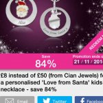 Personalised Santa necklace from Cian Jewels  £8 + £3.99 delivery- through Wowcher