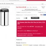 Brabantia  touch bin 50L stainless steel £67.99 @ ecookshop.co.uk