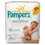 Pampers Sensitive Baby Wipes 5 pack (280 wipes) £3.20 (64p per pack) @ Tesco Direct