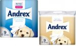 Andrex Classic White/Natural Pebble Toilet Tissue Rolls (9 Pack) £3 @ Nisa