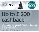 Sony Digital Cameras, Camcorders and Lenses - Whopping Christmas Cashback of upto £200 on selected models - Check