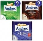 Andrex Toilet Tissue: Aloe Vera/Shea Butter/Quilts (9 Rolls x 160 Sheets) £5.00 or 2 for £7.50 (So £3.75 per pack) @ Sainsburys