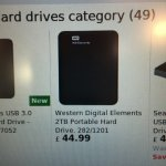 Western digital elements 2tb portable hard drive £44.99 @ Argos