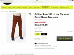 G Star Raw 3301 Low Tapered Cord Mens Trousers £19.99 @ Bargain crazy