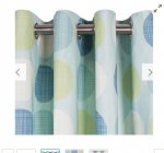 Unlined eyelet curtains 168cm x 183cm in soft teal at Tesco direct free C&C £7.50