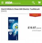 Oral-B White & Clean 600 Electric Toothbrush £19.97 @ Asda