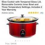 8 litre Slow cooker £34.98 delivered @ Amazon sold by Andrew James UK LTD