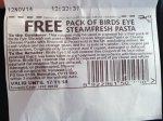 Free birds eye steam fresh pasta voucher at tesco cash point
