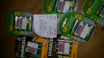 Various rechargeable batteries £1 or £2. Duracell GP ReCyko AA AAA, camera and coin batteries. Boots Carlton Centre London