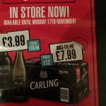 15 x cans of 440ml carling £7.99 at bargain booze