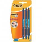 BIC Soft Feel Clic Grip Blue Pens - 3 Pack in-store Tesco 23p