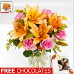 Debenhams flowers Cheerful lily & rose. £14.99 free chocs and free delivery using code