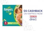 £6 cashback on Nappies from Tesco Direct when spending £5 or more through TCB. New customers only.