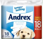 Andrex Classic White Toilet Tissue Rolls - 240 Sheets per Roll (18) £5.00 InStore clearance Asda Heath Town Wolverhampton