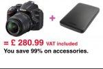 Nikon D3200 + 1TB external hard drive £280.99 @ pixmania