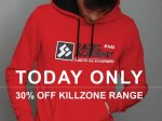 30% Killzone T shirts & hoodies TODAY ONLY @ Insert Coin Clothing