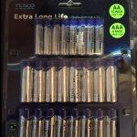 Tesco extra long life AA (16) & AAA (8) 24 multi pack alkaline batteries £1.25 @ Tesco instore