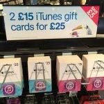 iTunes gift card - Save £5 - 2 x £15 cars =  £25 @ HMV