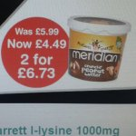 Meridian peanut butter 2kg for £6.73 at Holland and Barrett