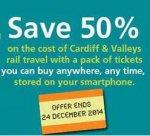 50% off fare with Arriva Trains Wales Multi-flex