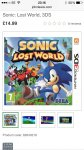 Sonic Lost World 3DS £14.99 @ John Lewis