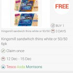 kingsmill sandwich thins £1 @ Tesco FREE from Checkoutsmart