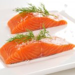 Whole salmon was £9.97/kg  now  £4/kg  at Asda  (typically 2.5kg size)