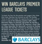 Win Tickets to Five Premier League Games Over Xmas (Email Entry)  - @ Sunday Times