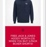 3 pack Jack & Jones Boxer Shorts & Free Hoody £20 & The Hut Plus Free Delivery