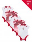 5 pack Liverpool FC baby vests online at Tesco £5.00