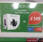 Xbox 360 250gb with two games with £20 off voucher £129 (+ club card boost) @ Tesco