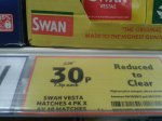 4 pack of Swan Vesta Matches (160 matches) 30p @ Tesco Instore