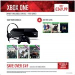 Xbox One with Assassins Creed Unity (download), AC: Black Flag (download), Forza 5 (download), one of Fifa 15/COD:Advanced Warfare/Halo: Master Chief Collection for £319.99 at Game (one day only - 18/12)