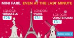 IDbus mini fares London to Brussels, Amsterdam or Paris from £28