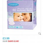 Lansinoh disposable breast pads £3.99 @ Toys R us