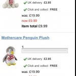 free cuddly toy. Early Learning Centre £9.99, plus £2.95 delivery