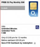 O2 Sim Only deal 4G signal 5GB data £24 PM unlimited min/txt  - £12.50/month after cashback  @ e2save
