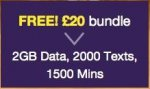 FREE £20 bundle (1500 mins/2000 txt/2GB data) on ASDA Mobile .