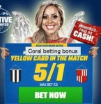 5/1 for a Yellow Card in Tyne & Wear Derby tomorrow. £5.00 @ Coral