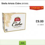 Stella cidre 3 cases of 8 for £20 in asda