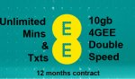 GREAT EE 10gb 4GEE Double Speed with Unlimited Mins & Txts Deal 12 month contract sim only deal (Full deatils below) 6mths / £13.99 6mths £27.99