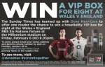 Win VIP Box for 8 to Wales v England Six Nations Match (Email Entry) - @ Sunday Times