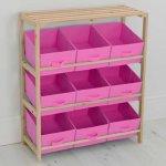 Poundstretcher storage rack with 9 canvas storage boxes Pink £19.99 instore @ Poundstretcher