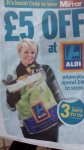 £5 off at Aldi when you spend £40 with Daily Mirror Thursday 22nd at Aldi