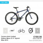 """Carrera Axle Limited Edition Mens 27.5"""" Hybrid Bike 2015 @ halfords ends Monday - £180"""