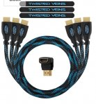 Twisted Veins High Performance HDMI Cable 1m (Pack of 3 HDMI Cables) + Right Angle Adapter and Velcro fasteners (Supports Ethernet, 3D and Audio Return) £5 + £3.99 delivery  Sold by SPN Imports and Services LLC and Fulfilled by Amazon