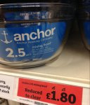 Anchor 2.5L glass mixing bowl, Reduced to clear £6.00 to £1.80 @ Sainsbury in store